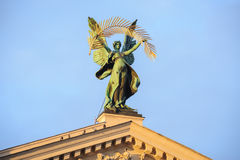 Statue at the roof of theater in Lviv, Ukraine Royalty Free Stock Image