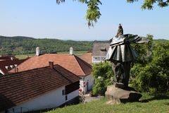 Statue and roofs in Tihany, Balaton royalty free stock image