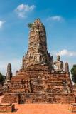 Statue ruinée de Bouddha en Wat Chai Wattanaram, à Ayutthaya Histor Images libres de droits