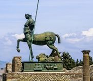 Statue in the Ruined City of Pompeii stock photography