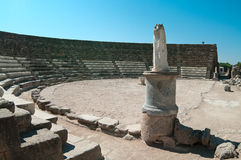 Statue in ruins of ancient theater in Salamis Stock Images