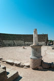 Statue in ruins of ancient theater in Salamis Royalty Free Stock Photos