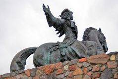 Statue of Russian Empress Elisaveta (Elizabeth) riding a horse. Stock Photography
