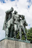 Statue of russian soldiers and the boy, Slavin - memorial monume Stock Images