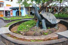 Statue of saddleback giant tortoise in Puerto Ayora on Santa Cru. Z Island, Galapagos National Park, Ecuador. Puerto Ayora is the most populous town in the Royalty Free Stock Photography