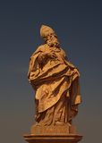 Statue of Saint Fridericus at old bridge, Wurzburg Stock Images