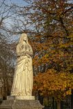 Statue of Saint Genevieve, patroness of Paris. Stone sculpture of Saint Genevieve, patron saint of Paris, fount in luxembourg Gardens Stock Image