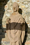 Statue of Saint-Guirec at Ploumanac'h in France Stock Images