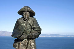 Statue of Saint James, mountains, Atlantic Ocean Royalty Free Stock Photography