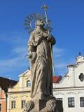 Statue of Saint James in Pelhrimov. Statue of Saint James, patron to the pilgrimage in Santiago de Compostela, on market square in Pelhrimov, Czech Republic Stock Image