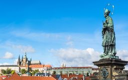 Statue of Saint John of Nepomuk on Charles Bridge in Prague Royalty Free Stock Photos