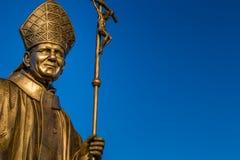 Statue of Saint John Paul II. Bronze statue of Saint John Paul II with Crucifix Royalty Free Stock Photos