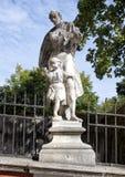 Statue Saint Joseph with child Jesus on the bridge over Bear moat, Cesky Krumlov, Czech Republic stock photos