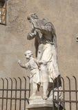 Statue Saint Joseph with child Jesus on the bridge over Bear moat, Cesky Krumlov, Czech Republic stock photography