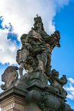 Statue of Saint Ludmila on Charles Bridge in Prague Royalty Free Stock Photos