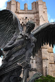 Statue of Saint Michael. Outside of St. John the Divine cathedral in New York City Stock Photos