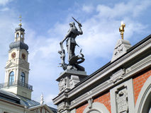 Statue of Saint Michael at the House of the Blackheads in Riga, Latvia Stock Photography