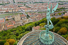 Statue of Saint Michel above Fourviere basilica, Lyon, France Stock Photo