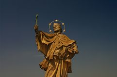 Statue of Saint Nepomuk at old bridge, Wurzburg Stock Photos