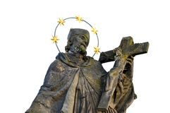 Statue of a Saint over white Royalty Free Stock Image