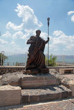 The statue of Saint Peter at Capharnaum, Israel. Statue of apostle Saint Peter in biblical Capernaum on the coast of Galilee sea (Kinnereth), Israel. Vertical Royalty Free Stock Photo