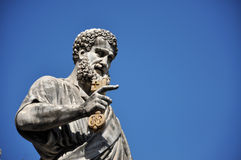 Statue of Saint Peter in Saint Peter square. Vatican city Royalty Free Stock Photos