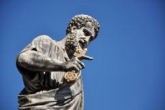 Statue of Saint Peter in Saint Peter square. Vatican city Stock Image