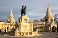 Statue of Saint Stephen I of Hungary in Fishermen`s Bastion stock photography