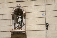 The statue of the saint. The streets of Rome. Sommer Royalty Free Stock Photo