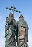 Statue of Saints Cyril and Methodius. Inventors of the Glagolitic alphabet, Colomna, Russia Stock Photography