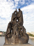 Statue of Saints Cyril and Methodius on Charles Bridge Royalty Free Stock Photo