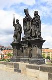 Statue of Saints Norbert of Xanten, Wenceslas and Sigismund Stock Image