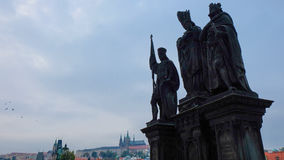 Statue of Saints Norbert of Xanten, Wenceslas and Sigismund on Charles Bridge Stock Images