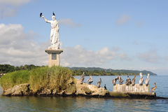 Statue of Salvador del mundo on the coast of Livingston Stock Photos