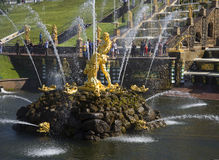 The statue of Samson in the bowl of the Grand cascade. Peterhof Royalty Free Stock Photography