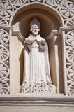 San Andreas statue on cathedral, Comayagua, Honduras. Statue of San Andreas, St. Andrew, on the facade of the Cathedral in Comayagua, Honduras stock images