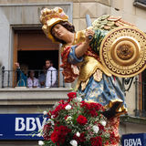 Statue of San Miguel parading. Royalty Free Stock Photography