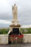 Statue of San Rafael in the Roman bridge Royalty Free Stock Images