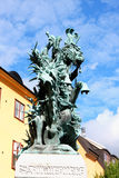 Statue of Sankt Goran & the Dragon in Stockholm, Sweden - a bron Stock Photography