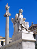 Statue sculpture of Plato. And Apollo on the background royalty free stock photo