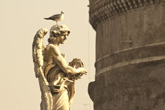 Statue with seagull Royalty Free Stock Images