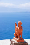 Statue. The statue with seascape of Greece island Royalty Free Stock Photos
