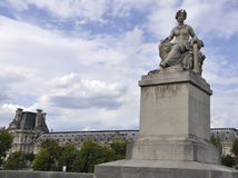 Statue of the Seine Bridge in Paris Stock Images