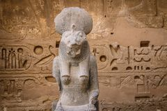 Statue of Sekhmet, Egyptian goddess with a lioness head stock images