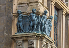 Statue 007. Set of statues at corner of historic building Royalty Free Stock Image