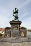 Statue of Sf. John of Nepomuk on the Charles bridge Royalty Free Stock Photography