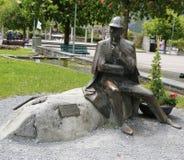 Statue of Sherlock Holmes in front of the Sherlock Holmes Museum in Meiringen, Switzerland Stock Images