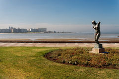Statue at the Shore Montevideo Uruguay Royalty Free Stock Photography
