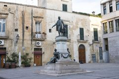 The statue of Sigismondo Castromediano and the personification of Liberty in Lecce, Italy Stock Photos