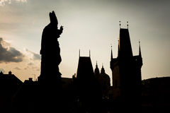 Statue silhouette at Charles bridge. Prague, Czech Republic Royalty Free Stock Photography
